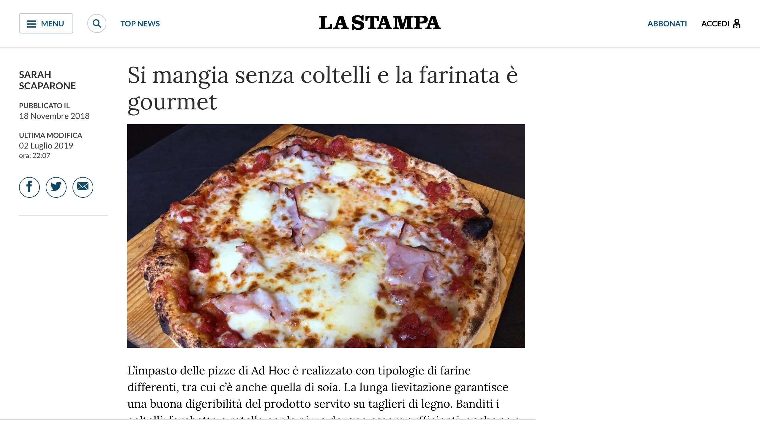La Stampa, Pizza Ad Hoc
